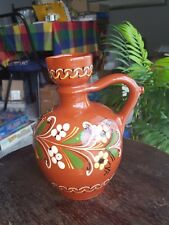 Vintage Terracotta Red Clay Hand Painted Vase Made In Hungry