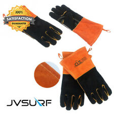 BBQ Mitts, Extreme Heat & Fire Resistant Gloves Leather Fireplace