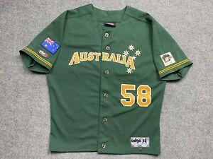 Vintage Australia Baseball Jersey Mens Extra Small Player # 58 Adult Green