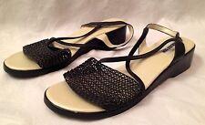New SUGARFOOT Size 8 Black & Beige Mesh Toe Crisscross SLINGBACK Flats SANDALS