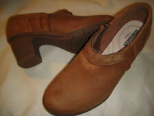 Clarks Sashlin Aleta Leather Side Zip Block Heel Shooties Boots Women 6.5 W Tan~