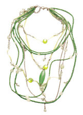 Striking Green Beads/clear & Golden Chain Layered Necklace / Harness (Zx224)