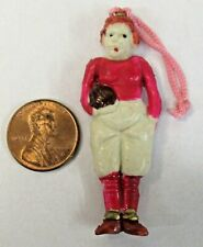 """red FOOTBALL PLAYER charm for pinback button celluloid 2 1/8"""" c.1930's Japan"""