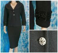 ST. JOHN Couture KNIT BLACK Jacket L 12 10 Suit Blazer Sequined Trim Rhinestones