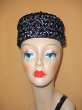 Navy Blue Raffia Pillbox Hat Hand Made by Toni McGovern