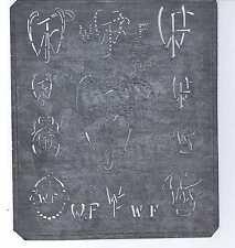 Große Monogramm Schablone  WF  Jugendstil  Weißblech 16 x 18 cm Weissstickerei