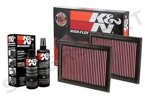 Two K&N 33-2409 Hi-Flow Air Intake Drop in Filters + 99-5050 Cleaning Kit