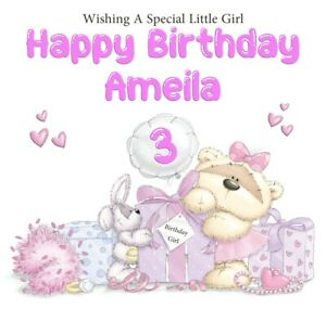 PERSONALISED BIRTHDAY CARD WITH AGE BALLOON GIRL BEAR& PRESENTS GLOSSY CARD