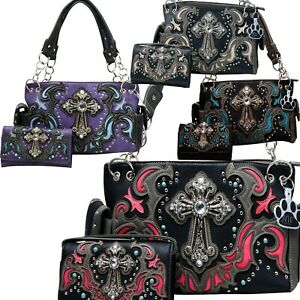 Western Handbag Laser Cut Stone Cross Carry Concealed Country Purse Wallet Set