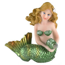 """Small Green Mermaid Figurine Holding Conch Shell 2.5"""" High Resin New!"""