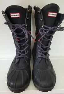 HUNTER Women's **NEW** COMBAT CORINN BOOTS ,Black RUBBER US 7 LACE UP/ZIPPER
