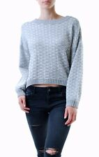 For Love & Lemons Women's Big Sur Crew Neck Sweater Grey RRP $171 BCF68