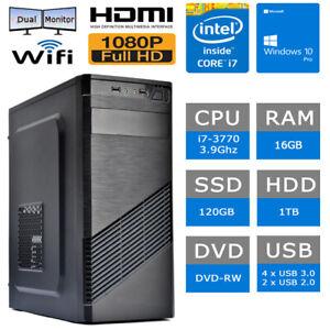PC FISSO COMPUTER DESKTOP INTEL i7-3770 RAM 16GB SSD 120GB HDD 1TB HDMI/WiFi/DVD