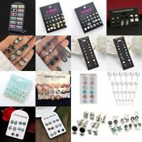 Hot 6/9/12Pairs Women Chic Rhinestone Crystal Ear Stud Earrings Jewelry Set Gift