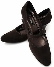 ECCO - Brown Soft Suede Leather Heeled Shoes - UK 7/EU 40 - Excellent Condition