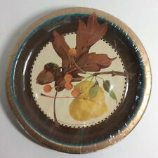 Autumn Beauty Fall Harvest Leaves THANKSGIVING PARTY PAPER DESSERT PLATES 7""