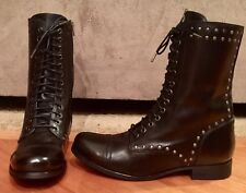WOMEN DIESEL ARTHIK LACE UP BLACK LEATHER ANKLE MOTORCYCLE MILITARY BOOTS SZ 8.5