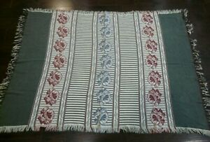 "Sage Green Dusty Rose Blue Floral Striped Throw Blanket Fringe 48"" x 68"""