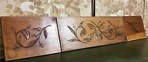 3 Scroll leaf fruit wood carving pediment Antique french architectural salvage