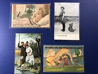4 Fantasy Exaggeration Antique Vintage Postcards. Mint. Collector Items w Value