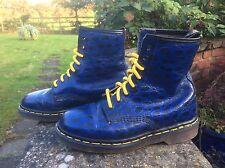 VINTAGE Martens 1460 Blu Dr & Nero Pelle Stivali UK 4 EU 37 Made in England