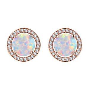 European Flower Style Gold Plated 925 Silver white Fire Opal Stud Earrings