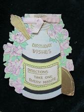 Vtg 1930 DIE CUT Art Deco Elixir Bottle Birthday Greeting Card Silk Ribbon Used