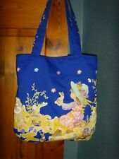 B Zero Waste BLUE GIRL & BUNNY RABBIT PRINT FABRIC 14in Tote book bag LINED