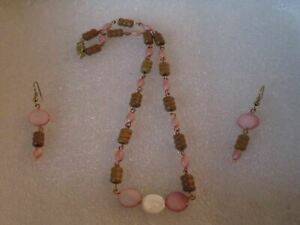 Mother Of Pearl & Wood Bead  Chain  Handmade Necklace set