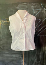 Vtg 50s White Rockabilly Sleeveless Button Down Top Green Floral Embroidery S