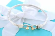 RARE Tiffany & Co Silver 18Kt Gold Ball Coil Hook Bangle Bracelet w/ Packaging
