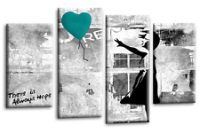 """BANKSY ART PICTURE TEAL GREY CANVAS GIRL WITH BALLOON WALL 4 PANEL 44""""x 27"""""""