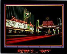 1989 Reno's Hot Fitzgerald's Hotel Casino Nevada Postcard Reno Neon Arch Vintage