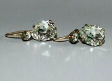 ANTIQUE VICTORIAN / EDWARDIAN GOLD PLATED DIAMOND PASTE EARRINGS. DROP DANGLE.