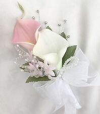 Ladies Bouquet, Rosa, bianco, le calle, Diamanti, Fiori Artificiali Matrimonio