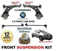 FOR VAUXHALL CORSA FRONT 2X WISHBONE ARMS 2x STABILISER LINK BARS SUSPENSION KIT