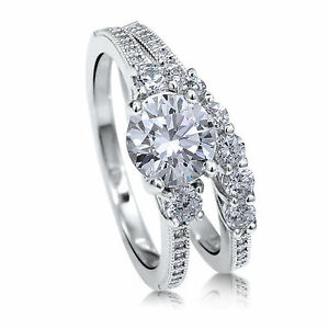 1.50 ct Diamond Wedding Engagement Ring Set 14K White Gold Round Cut Size 8