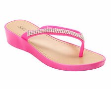 WOMENS DIAMANTE WEDGE CASUAL OR BEACH WEAR FLIP FLOP SUMMER SANDALS LADIES SIZE