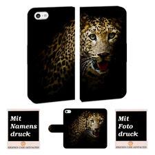 iPhone 5 / 5S / SE Schutzhülle Handy Hülle Tasche mit Leopard + Foto Text Druck
