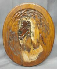 Old Vintage Artist Signed Hand Carved Wooden Dog Plaque