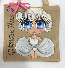Personalised Handpainted Jute Marilyn Monroe Style Jute Handbag Hand Bag Gift