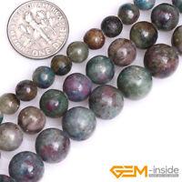 "Natural Gemstone Green Red Brazil Ruby Apatite Round Jewelry Making Beads 15"" YB"