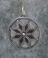 Old Hutsul Star Amulet Pendant,8 edges, Oxidized + Sterling Silver, 1 1/4""