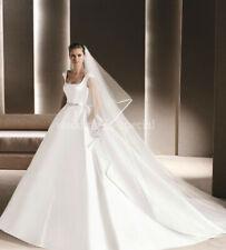 "High Quality Diamond White Wedding Bridal Veil 2 Tier Cathedral Satin Edge 136"""
