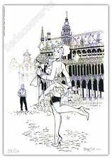 Ex-libris Meynet Bruxelles Grand Place Pin-up Mirabelle 30ex signé 15x21 cm