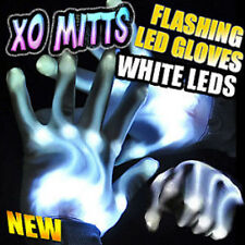 Flashing Led Xo Gloves White Leds Hip Hop Dance Party Lights -Free Shipping!