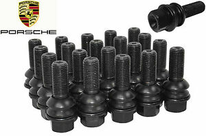 20 New Porsche OEM Black Lug Bolts ( 28 mm ) 14x1.5 Ball Seat R14 Bolt W/ Washer