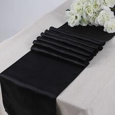New black satin runner wedding table decor - 10 pieces pc