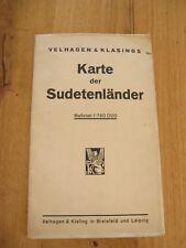 alte Velhagen & Klasings Karte Landkarte der Sudetenländer um 1938