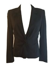 ESCADA Black Blazer Size 38 Medium Jacket Fitted Pleated Fitted Womens